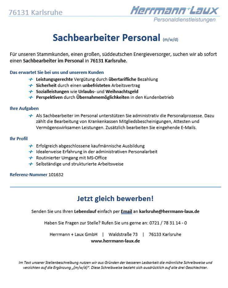 Sachbearbeiter Personal (m/w/d)