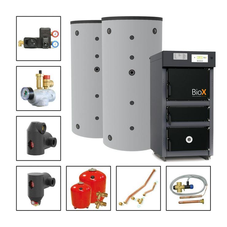 Solarbayer BioX 25 Heizung PAKET 25 kW 2 St. Pufferspeicher 800 L