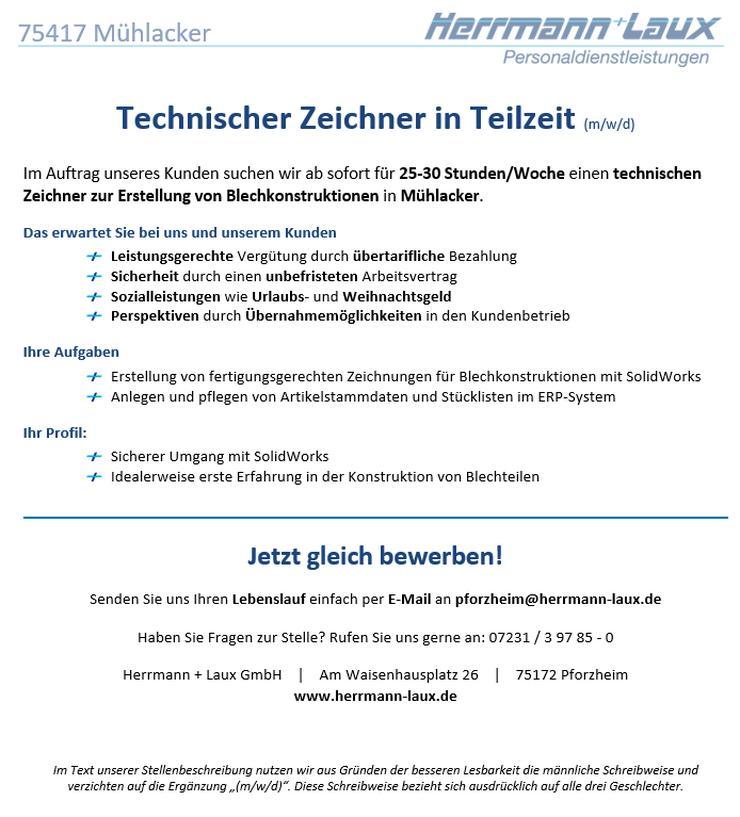Technischer Zeichner in Teilzeit (m/w/d)