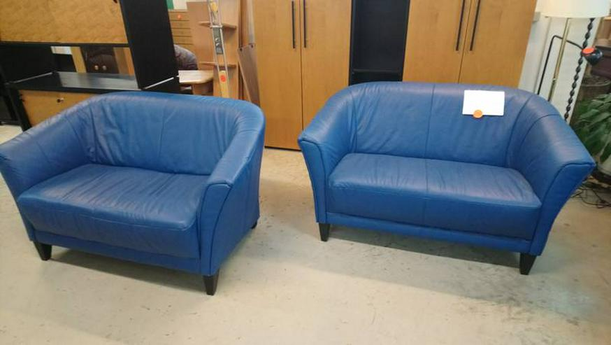 Ledersofa Couch Sofa Ledercouch Zweisitzer blau 2 Stück