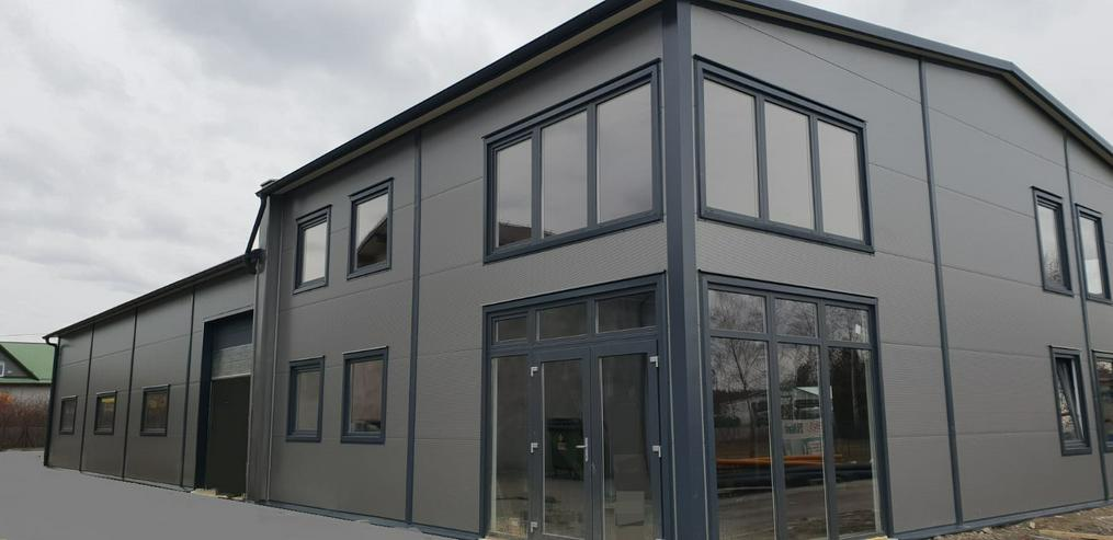 Stahlhalle Werkstatthalle Gewerbehalle Mehrzweckhalle mit Beuro-/Wohnbereich 30m x 15m