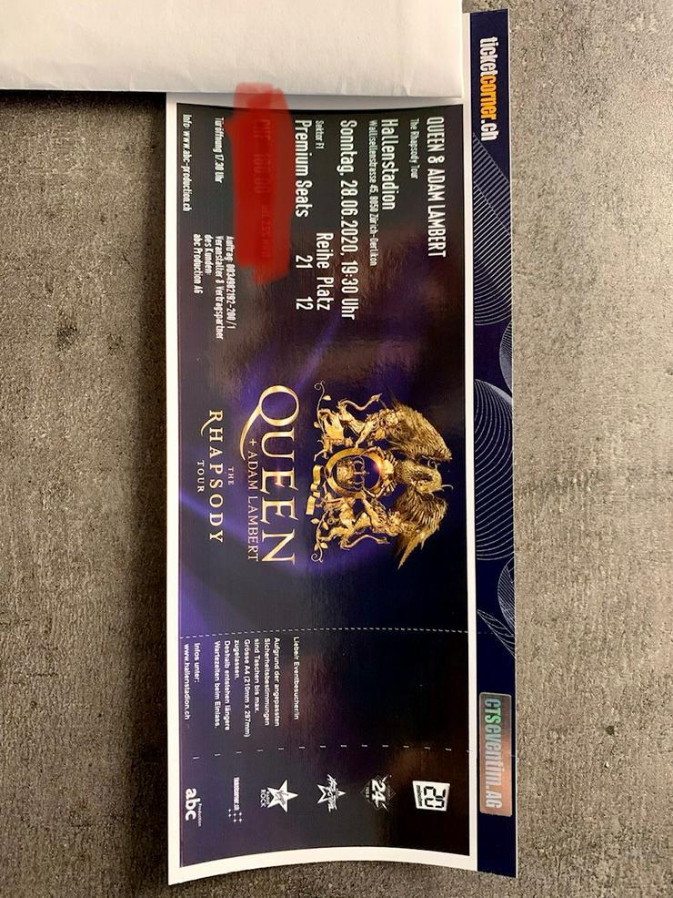 1 Queen & Adam Lambert Ticket Premium Seat F1, 28.06.2020 Zürich - Konzerte - Bild 1