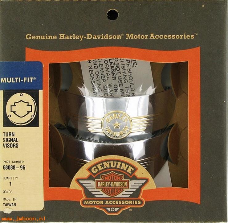 Harley Davidson Touring Fat Boy Logo Turn Signal Visors NEU OEM 68088-96