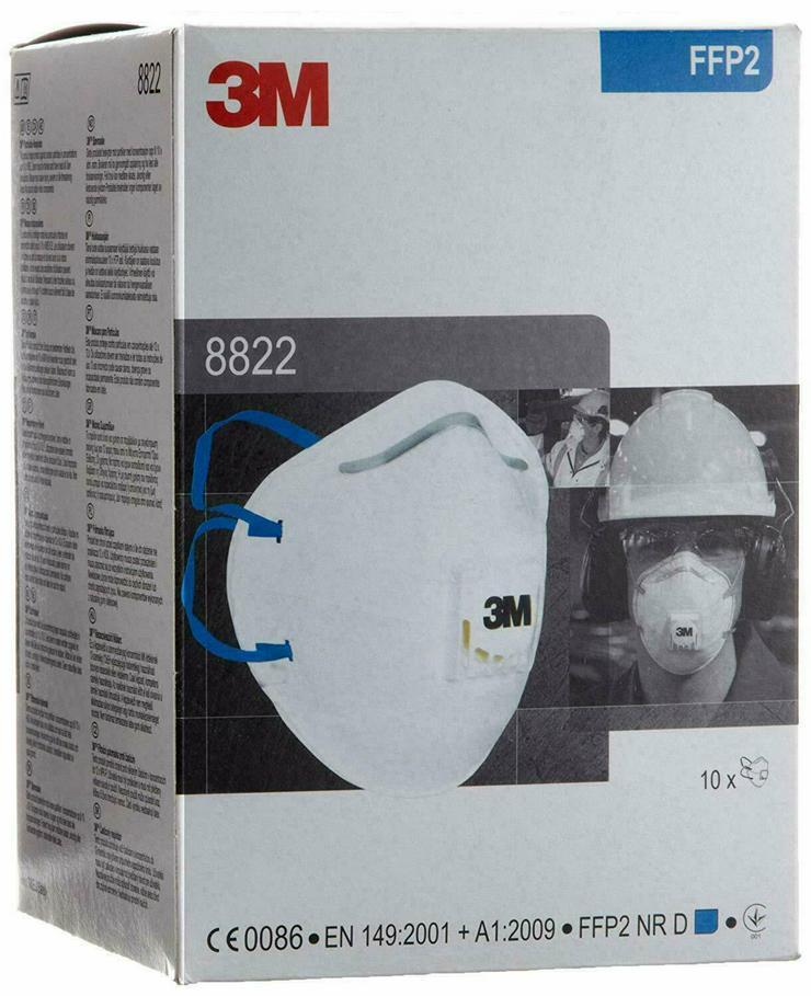 Staubschutz Masken mit Ventil FFP 2 Atemschutz 3M 8822