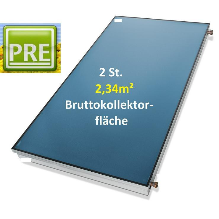 1A TOP 2 St. Flachkollektor 2,34m² Kollektor für Solaranlage. pre - Solarheizung - Bild 1