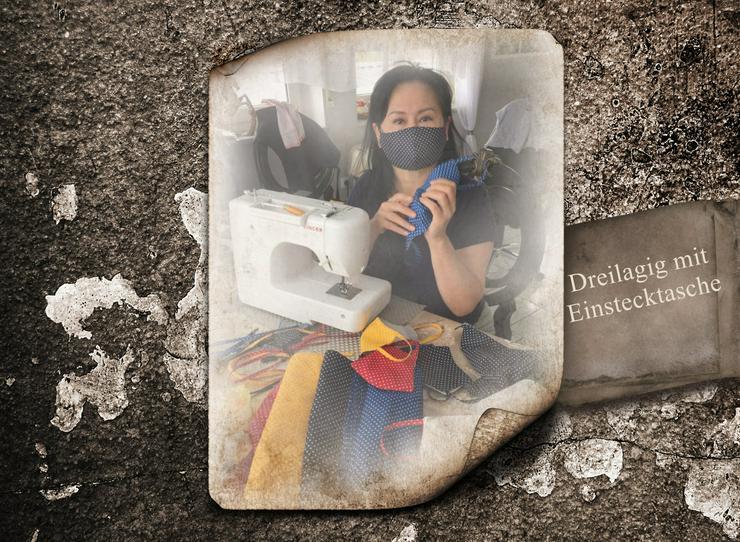 Bild 2: Community – Masken / Mund und Nasen Abdeckung dreilagig aus 100 % Baumwolle in Handarbeit