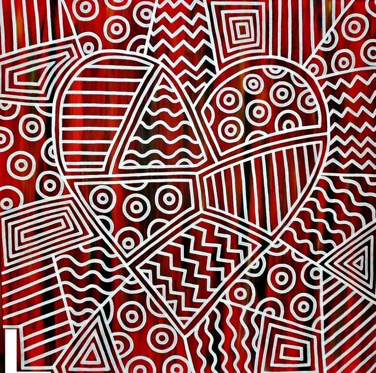 Bild 2: Pop Art Abstrakte #Kunst #Gemälde original 100x100 cm Schattefugenrahmen
