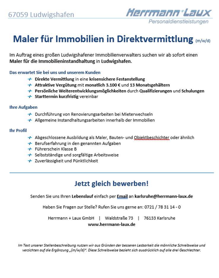 Maler für Immobilien (m/w/d) - in Direktvermittlung -