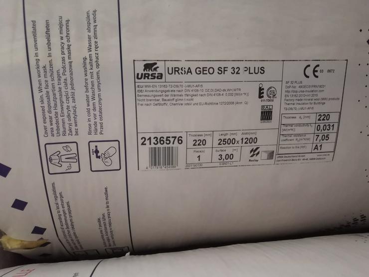 Dämmung - URSA GEO SF 32 PLUS, 2500mmx1200mmx220mm (3m²/Rolle) - Abdichten & Isolieren - Bild 1