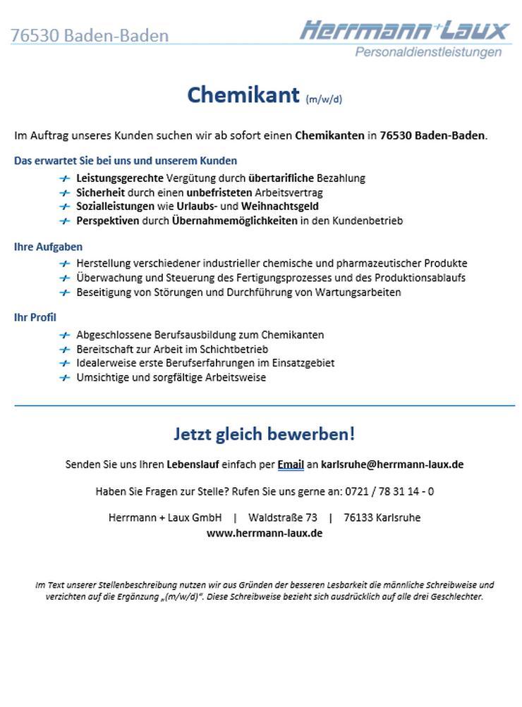 Chemikant (m/w/d)