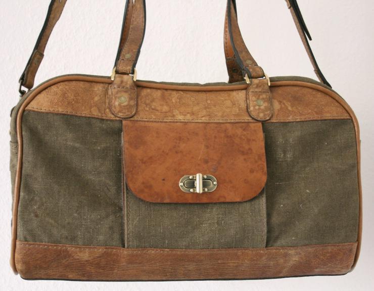 Canvas Travel Bag Leather Handmade