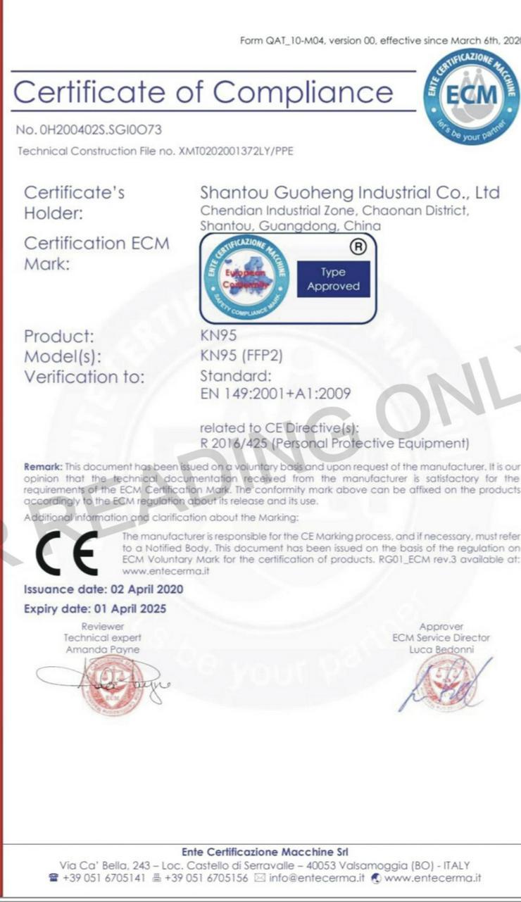 Bild 4: zertifizierte KN95 / FFP2 Masken
