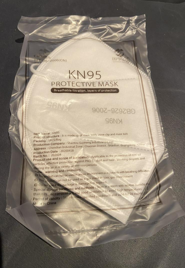 Bild 2: zertifizierte KN95 / FFP2 Masken