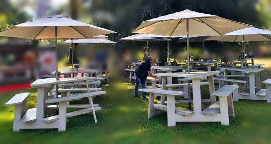 Bild 4: Gartenbank Dreieckstisch Picknicktisch Gartentisch Holz dreieckig Triangel Sitzgarnitur