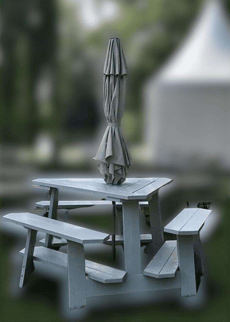 Gartenbank Dreieckstisch Picknicktisch Gartentisch Holz dreieckig Triangel Sitzgarnitur - Bänke - Bild 1