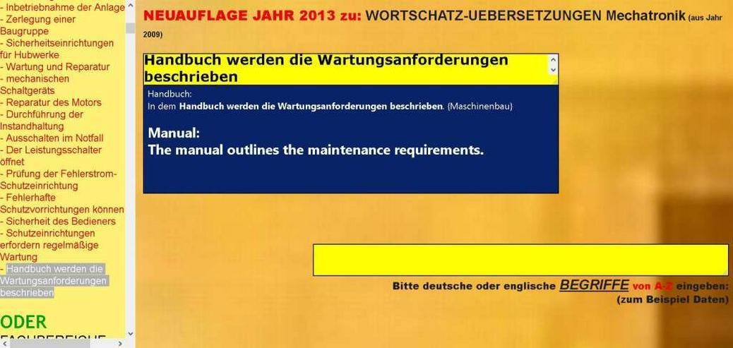 Bild 4: deutsch-englisch Uebersetzer: Verwendung, Wartung und Instandsetzung der Maschine