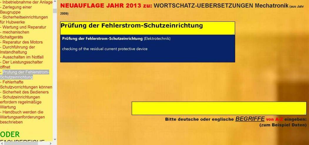 Bild 2: deutsch-englisch Uebersetzer: Verwendung, Wartung und Instandsetzung der Maschine