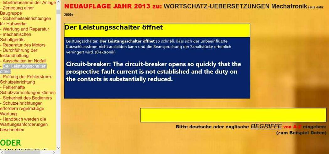 Bild 3: deutsch-englisch Uebersetzer: Verwendung, Wartung und Instandsetzung der Maschine