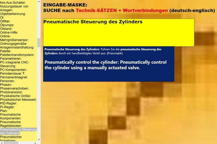 Uebersetzer Texte/ Saetze englisch-deutsch: Software/ Prozess-Beschreibung/ Maschinebauzeichnung - Wörterbücher - Bild 1
