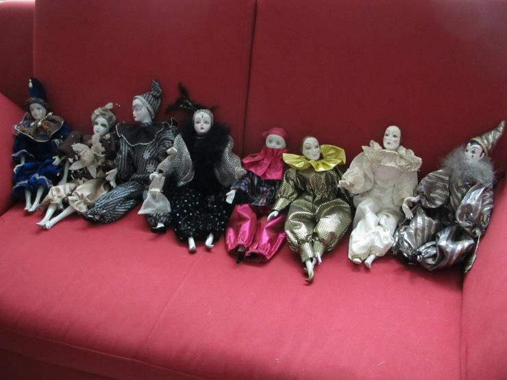 8 Porzellan Harlekin Puppen