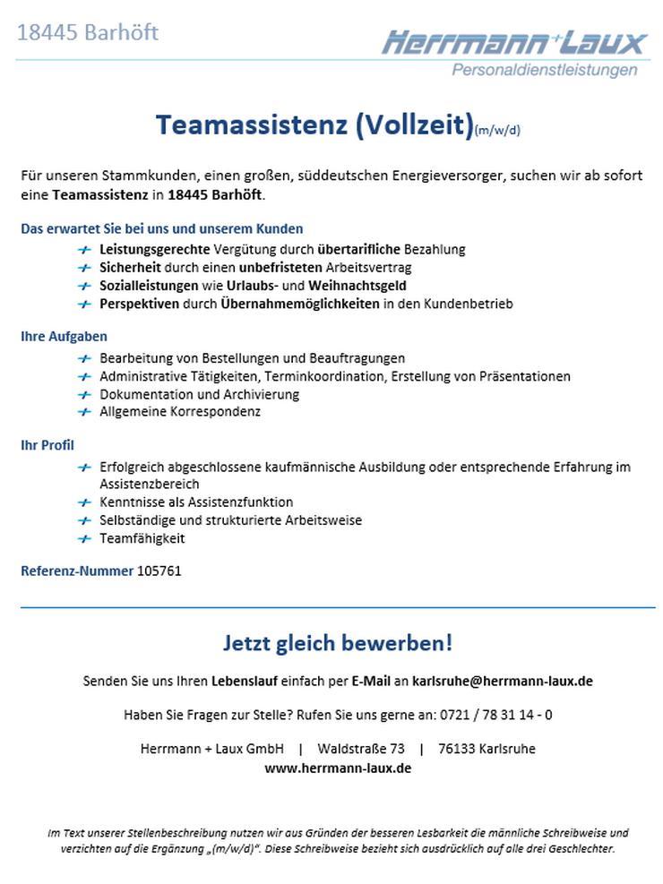 Teamassistenz (Vollzeit)(m/w/d)
