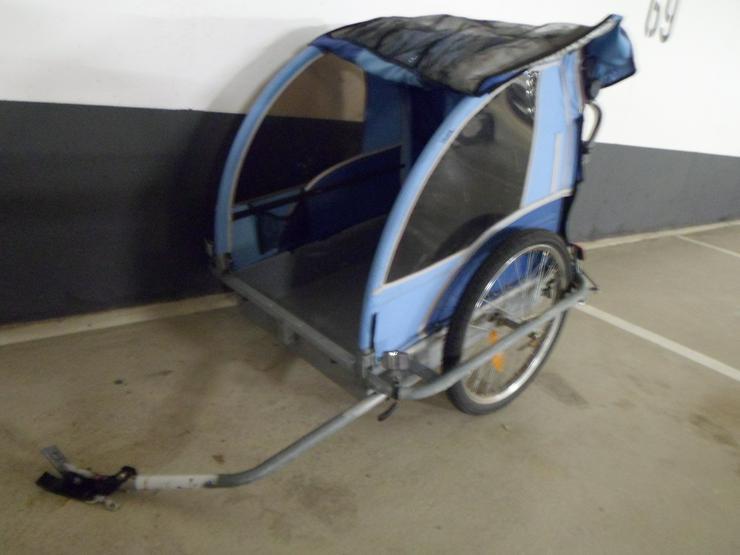 Fahrradanhänger Blue Bird 2Sitzer Aluwanne mit Kupplung und 3.Rad