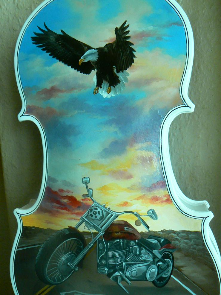 Bild 4: 2 Traum-Gemälde Harley Davidson auf einer echten Geige