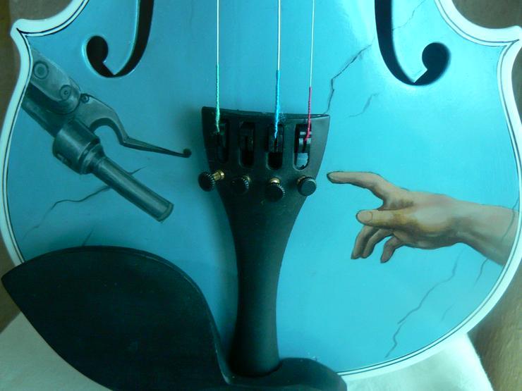 Bild 7: 2 Traum-Gemälde Harley Davidson auf einer echten Geige