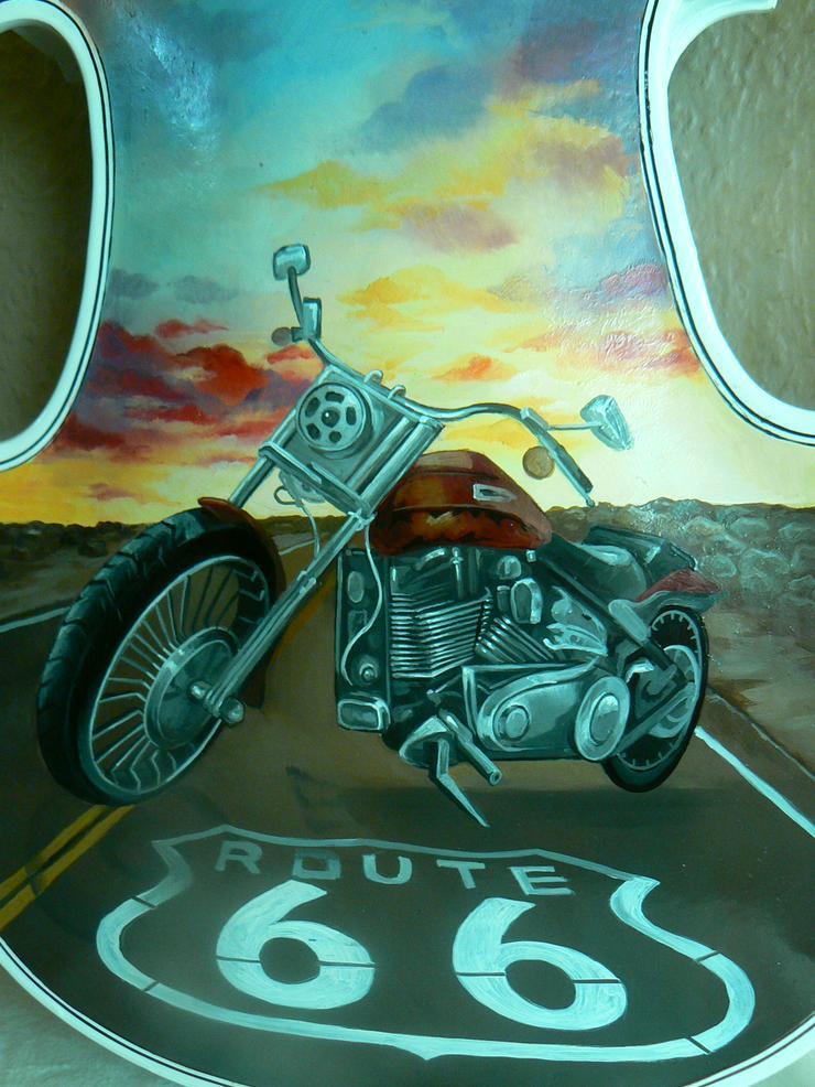 Bild 2: 2 Traum-Gemälde Harley Davidson auf einer echten Geige