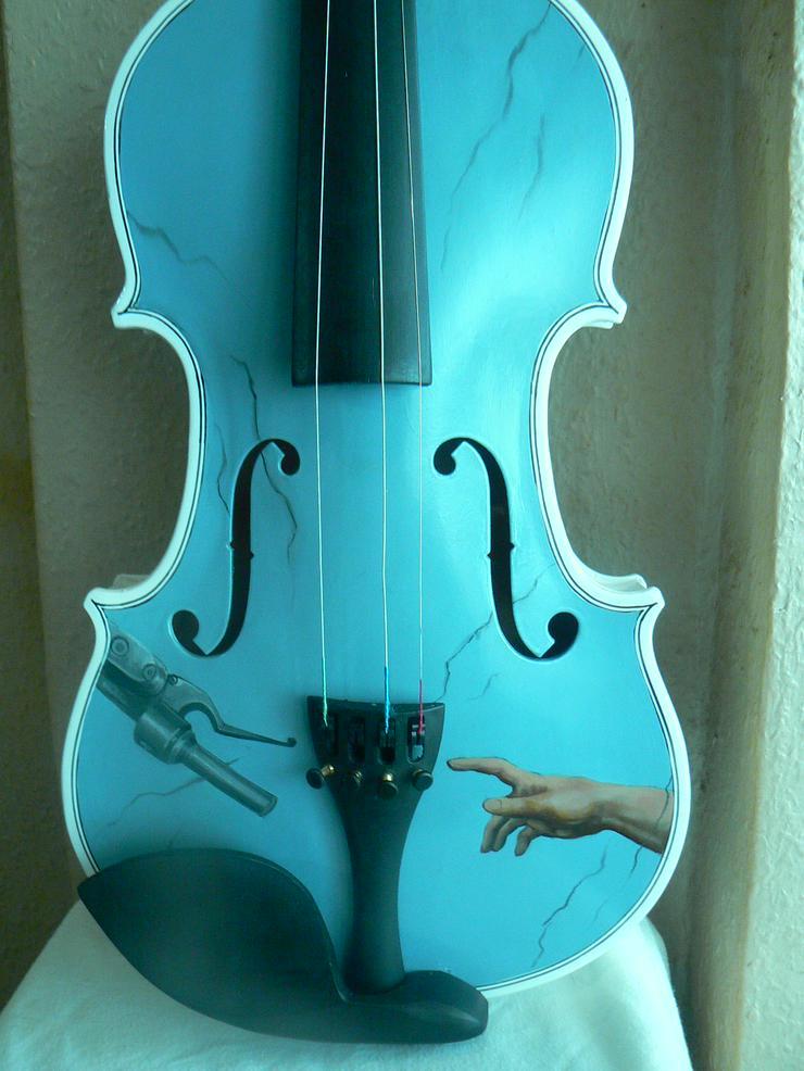 Bild 6: 2 Traum-Gemälde Harley Davidson auf einer echten Geige