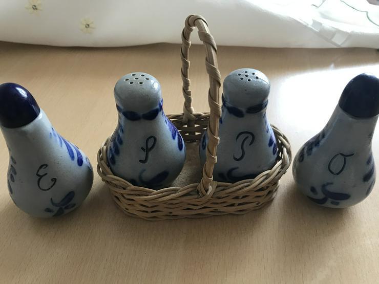 Keramik Blau-Grau Salz- und Pfefferstreuer, Öl- und Essigkännchen