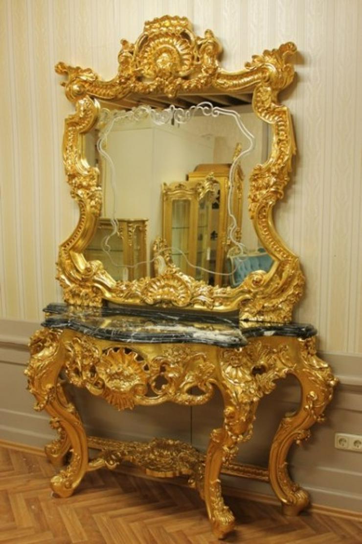 Spiegel Konsole Barock mit Marmor-Platte schwarz