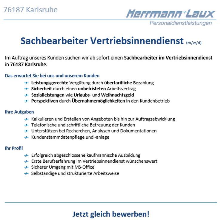 Sachbearbeiter Vertriebsinnendienst (m/w/d)