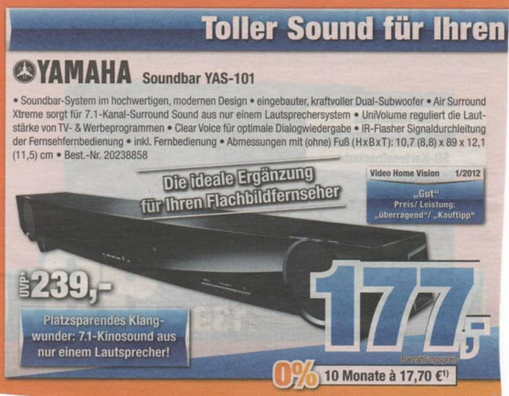 Bild 3: sony bravia 32 zoll fernseher und yamaha soundbar