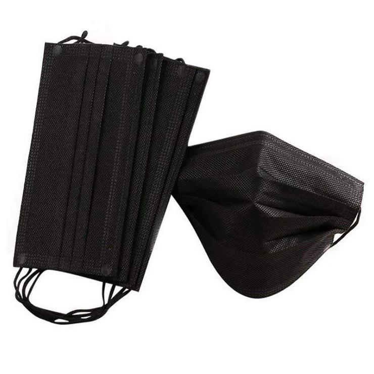 10 x Einweg Gesichtsmaske, Mundschutzmaske, schwarz, vierlagiger Vliesstoff