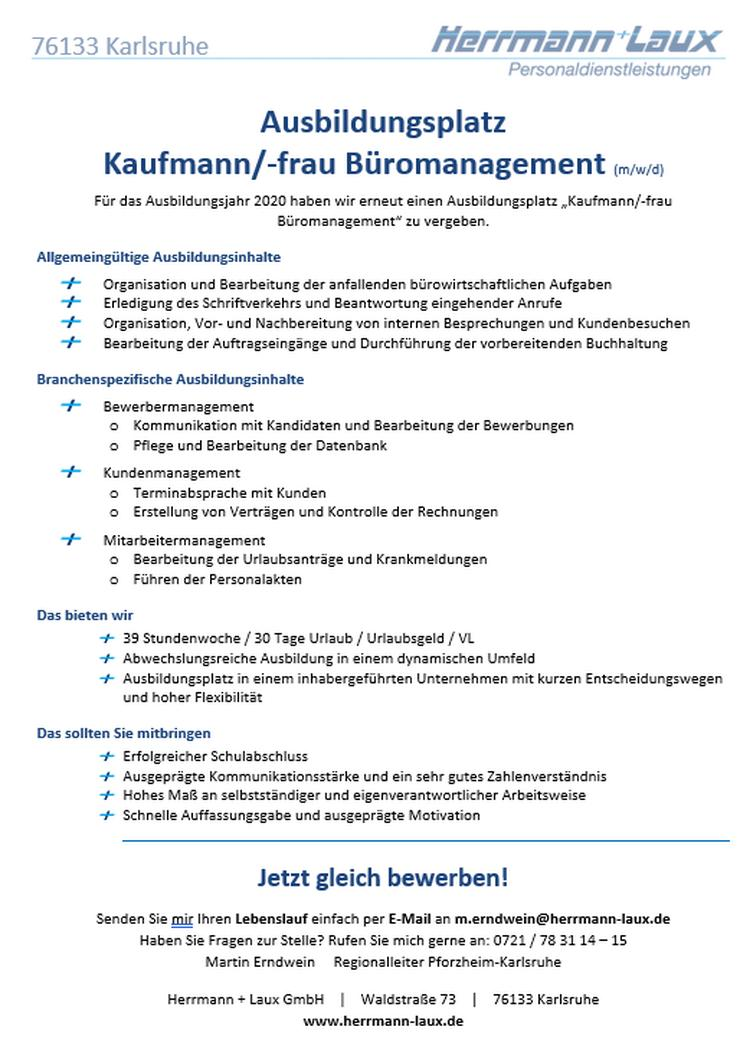 Ausbildungsplatz Kaufmann/-frau Büromanagement (m/w/d)