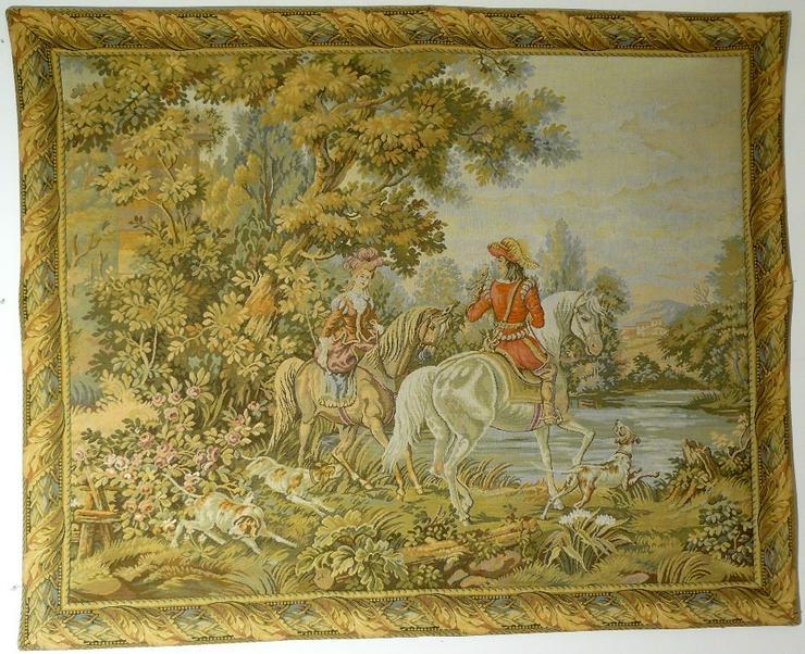 Gobelin Bildteppich Ausritt mit Hunden im Park (G052)