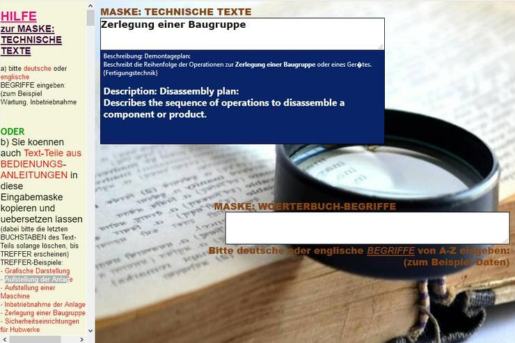 Bild 6: deutsches Betriebshandbuch ins Englische uebersetzen (Text, Saetze)