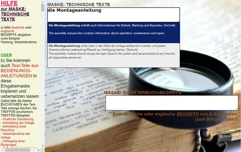 Bild 4: Montageanleitung: englische + deutsche Texte zu Antriebssystem, Getriebe Greifer uebersetzen