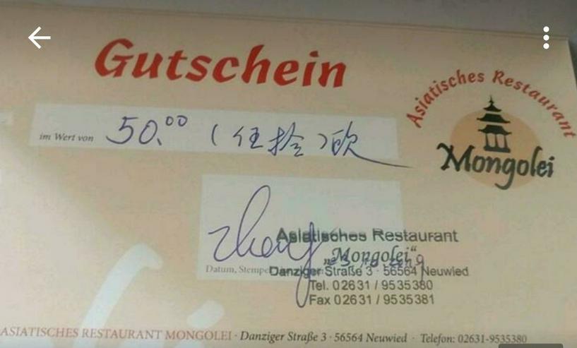50€ Gutschein Asiatisches Restaurant Mongolei Neuwied