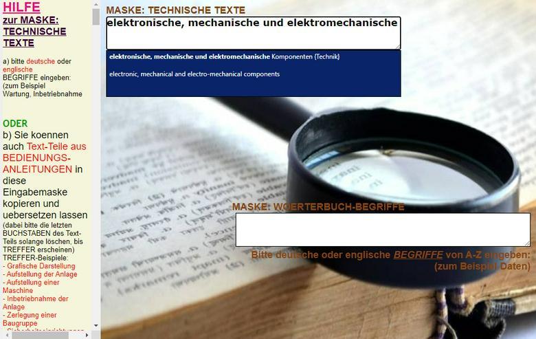 Bild 2: englisch-deutsch Text-Uebersetzer: technische Funktionsbeschreibung/ Aufbau einer Maschine