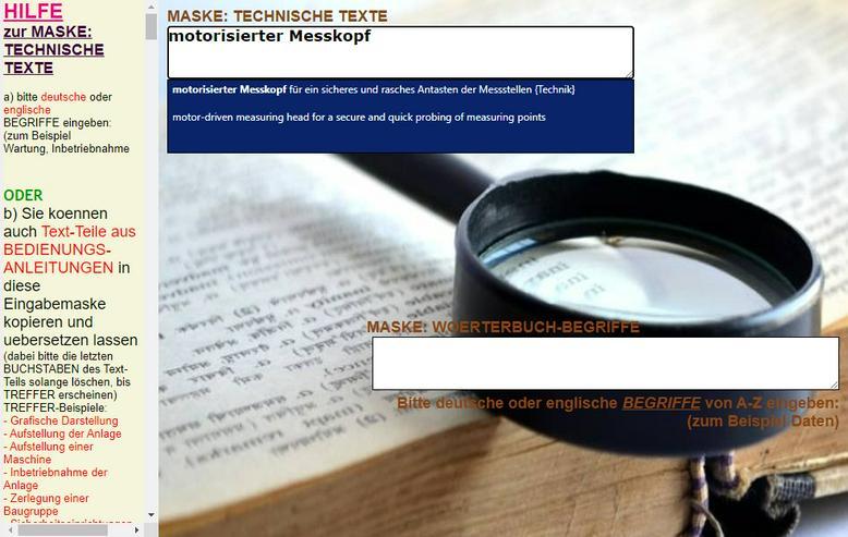 Bild 5: englisch-deutsch Text-Uebersetzer: technische Funktionsbeschreibung/ Aufbau einer Maschine