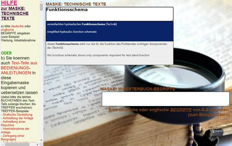 Bild 3: englisch-deutsch Text-Uebersetzer: technische Funktionsbeschreibung/ Aufbau einer Maschine