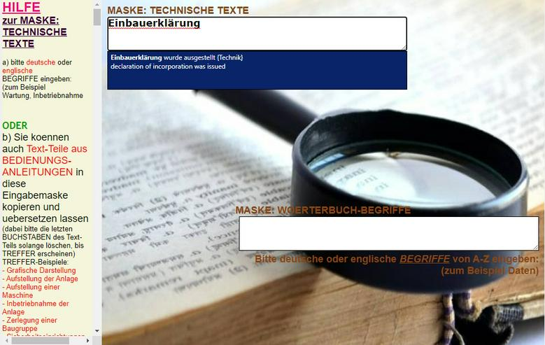 englisch-deutsch Text-Uebersetzer: technische Funktionsbeschreibung/ Aufbau einer Maschine - Wörterbücher - Bild 1