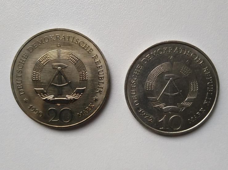 Bild 1: 10 und 20 Mark Münze DDR