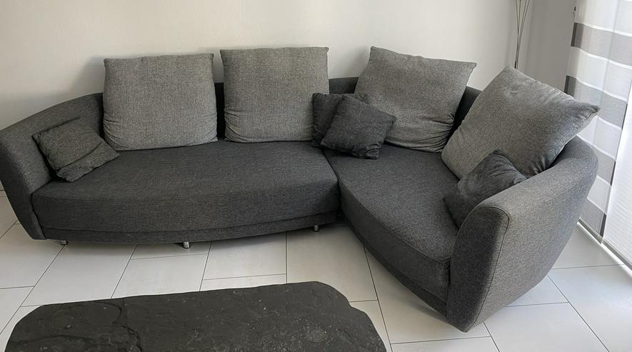 Rundecke, Couch, Sofa, Wohnlandschaft, grau, Lounge