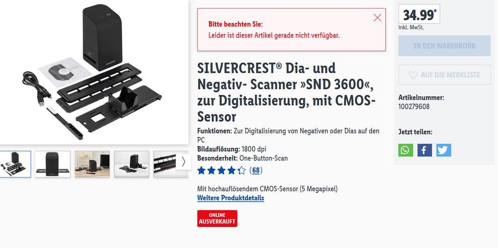 Negativ- Scanner »SND 3600«, zur Digitalisierung, mit CMOS-Sensor