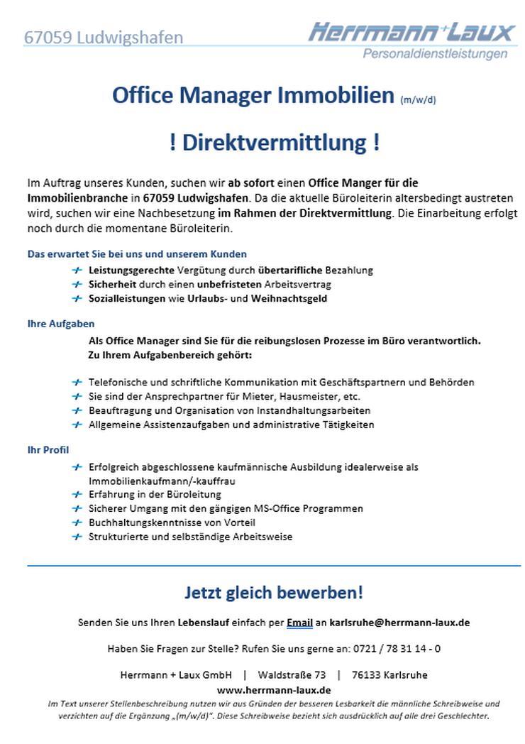 Office Manager Immobilien (m/w/d) ! Direktvermittlung !