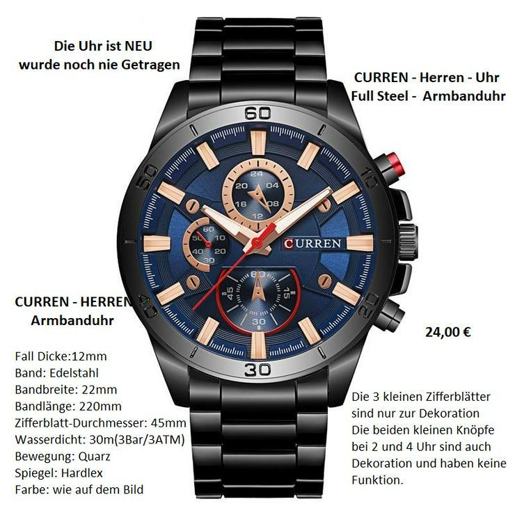 CURREN Herren Full Steel Armbanduhr