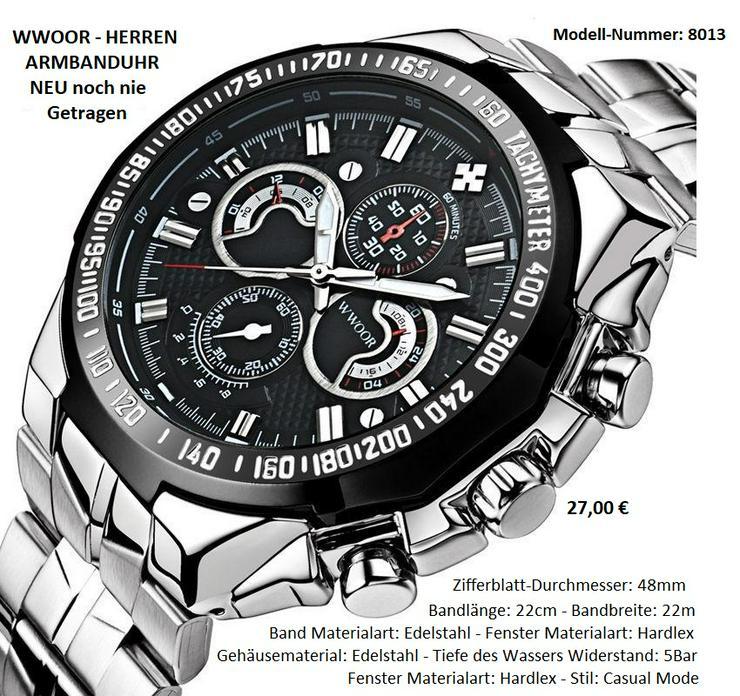 WWOOR Herren Edelstahl Armbanduhr